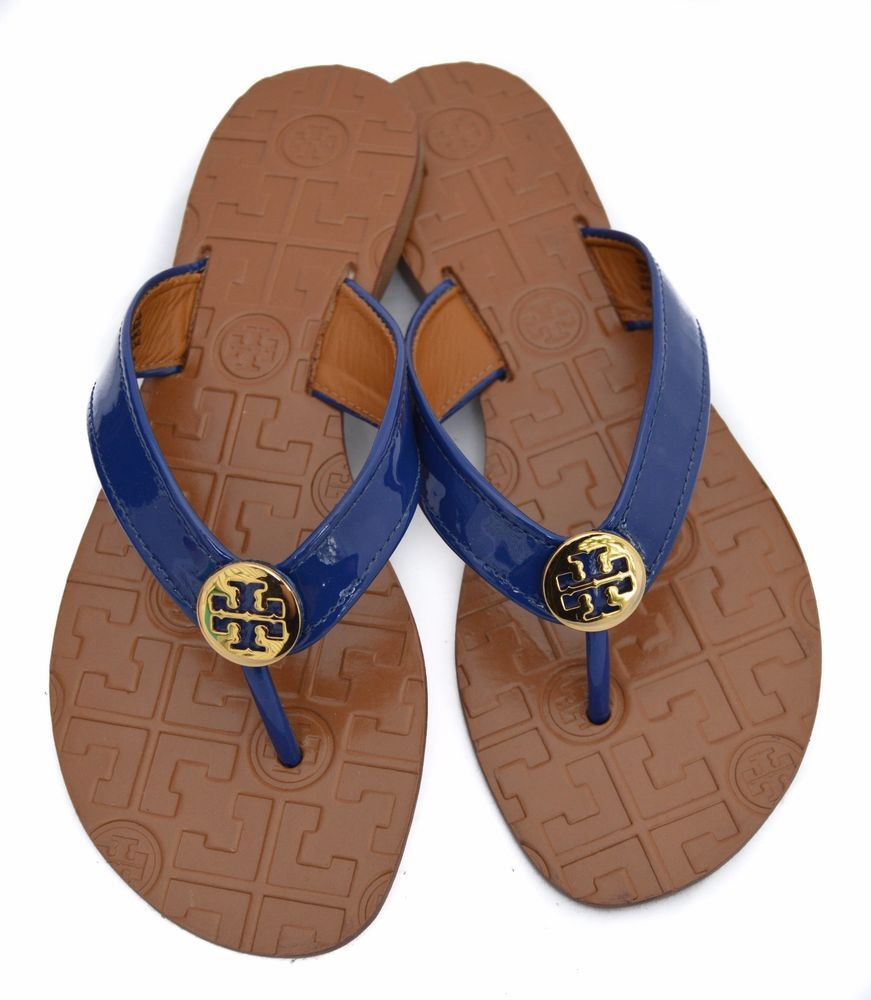 60a3e21a80fa Tory Burch Thora Navy Patent Leather Thong Sandals 5M NWOB  3 ...