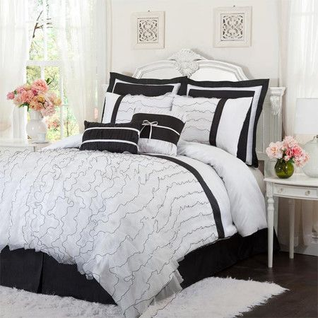 Ruffled Comforter Set In Black And White Product 1 Comforter 1