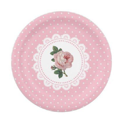 Personalized Pink Vintage Rose Paper Plates | Wedding and Weddings