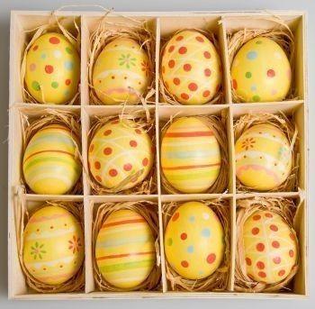 Huevos decorados en tonos amarillentos Huevos de pascua decorados - huevos decorados