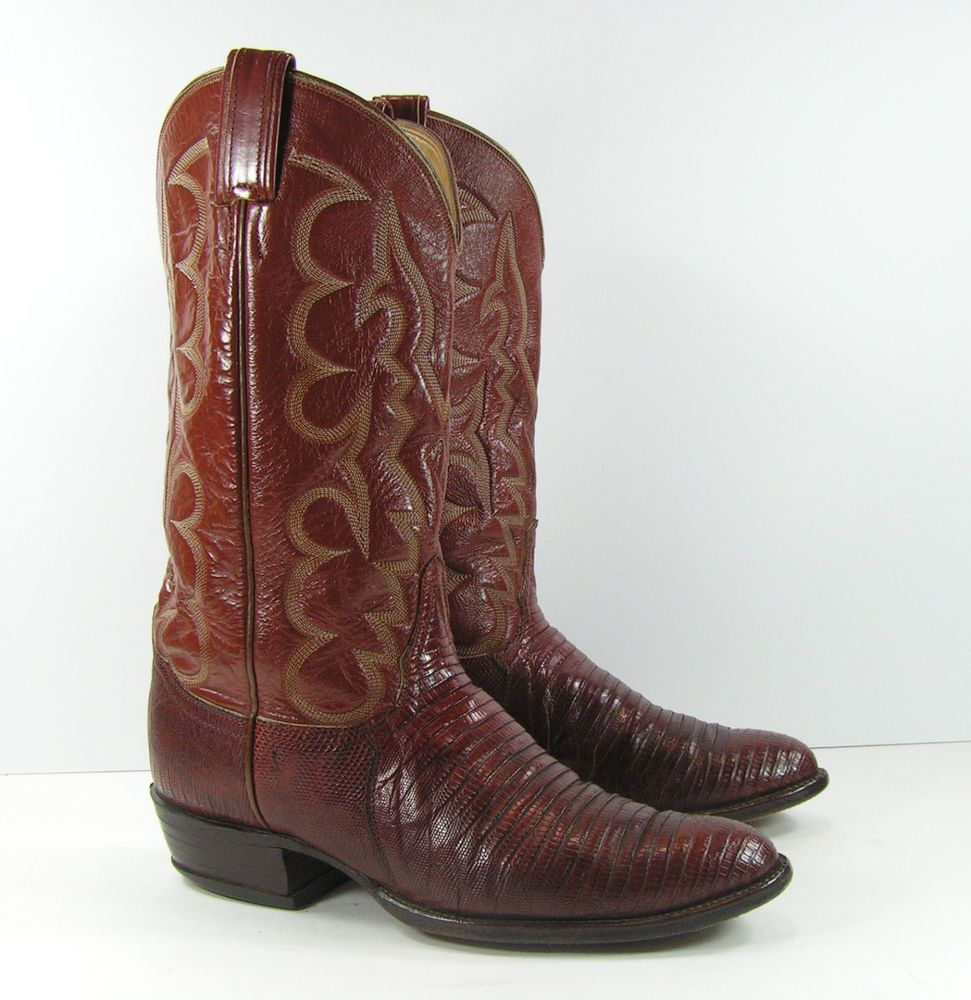 be02ee28302 tony lama lizard skin cowboy boots mens 9 D brown leather usa ...