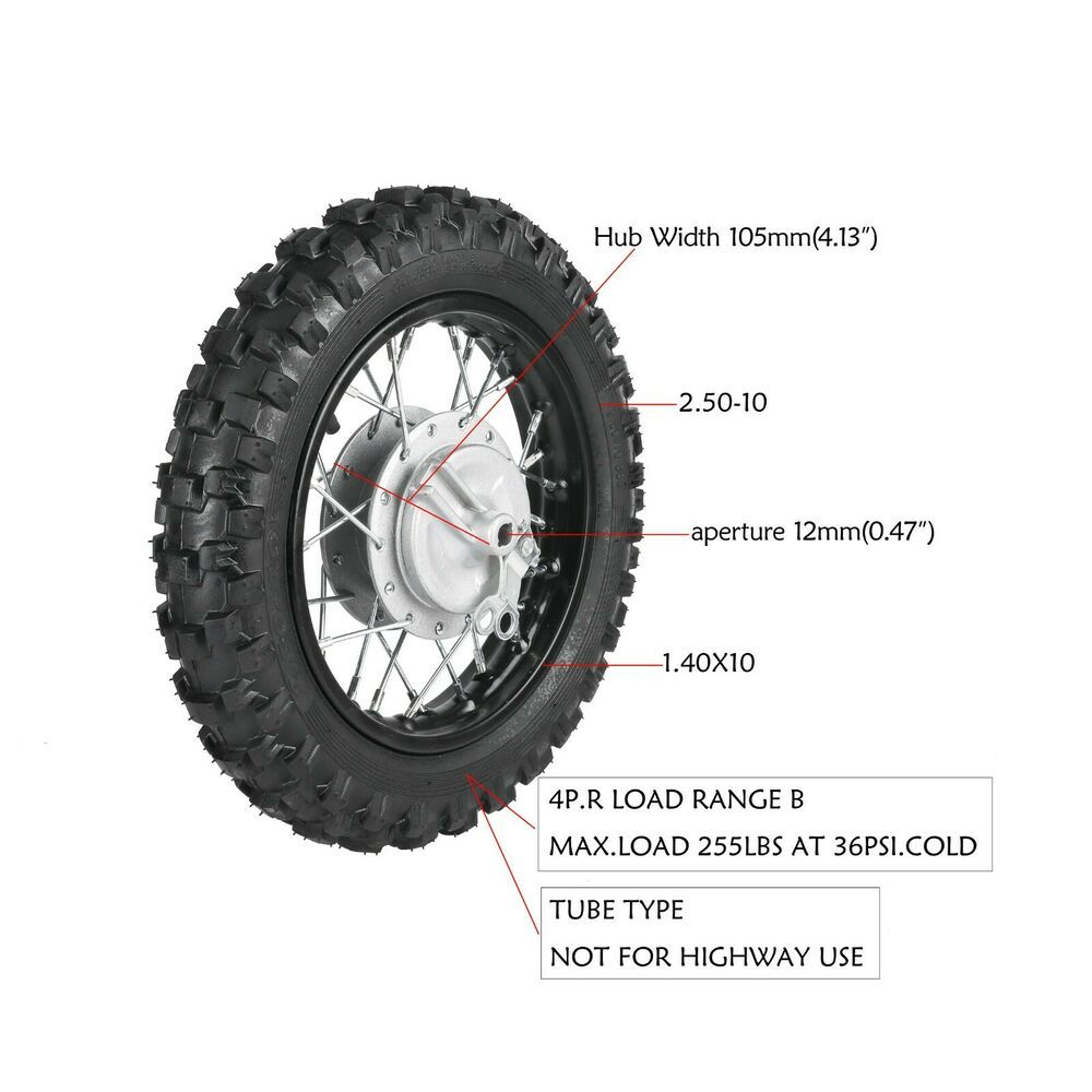 Details About Black 2 50 10 Inch Front Wheel Drum Pit Bike Sdg Ssr