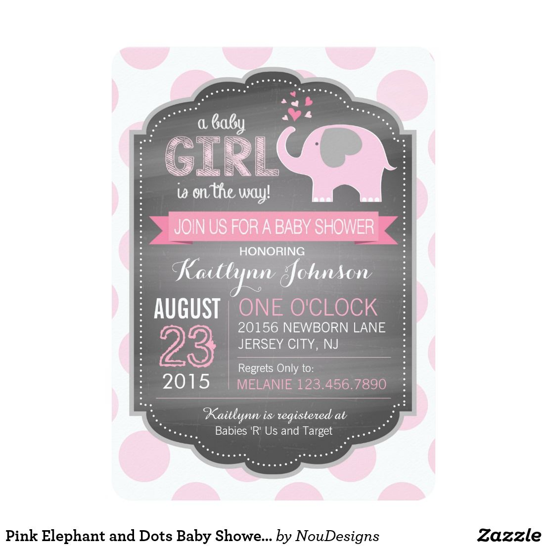 Pink Elephant and Dots Baby Shower Invitations | baby | Pinterest ...