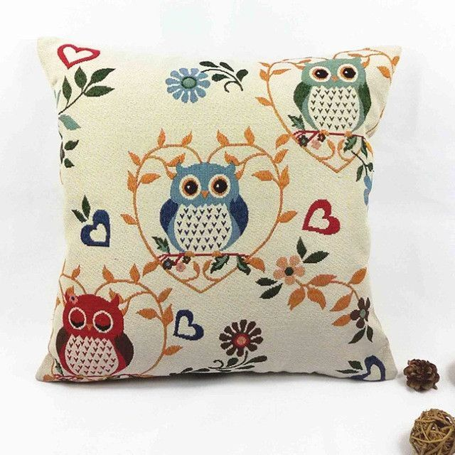 Vintage Graphic Three Owl Pillow Case