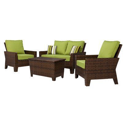belmont 4 piece brown wicker patio thick woven conversation furniture set target