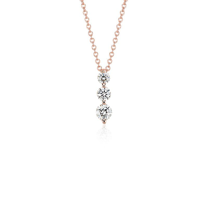 Three stone drop diamond pendant in 18k rose gold 12 ct tw three stone drop diamond pendant in 18k rose gold 12 ct tw blue nilediamond aloadofball Image collections