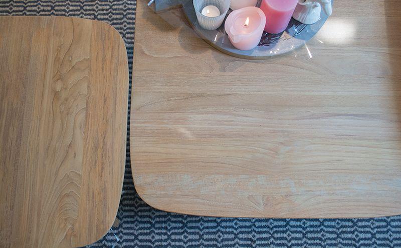 Combineer deze teakhouten salontafel Arendskelk met de andere salontafels Arendskelk voor een leuk effect in uw zithoek!