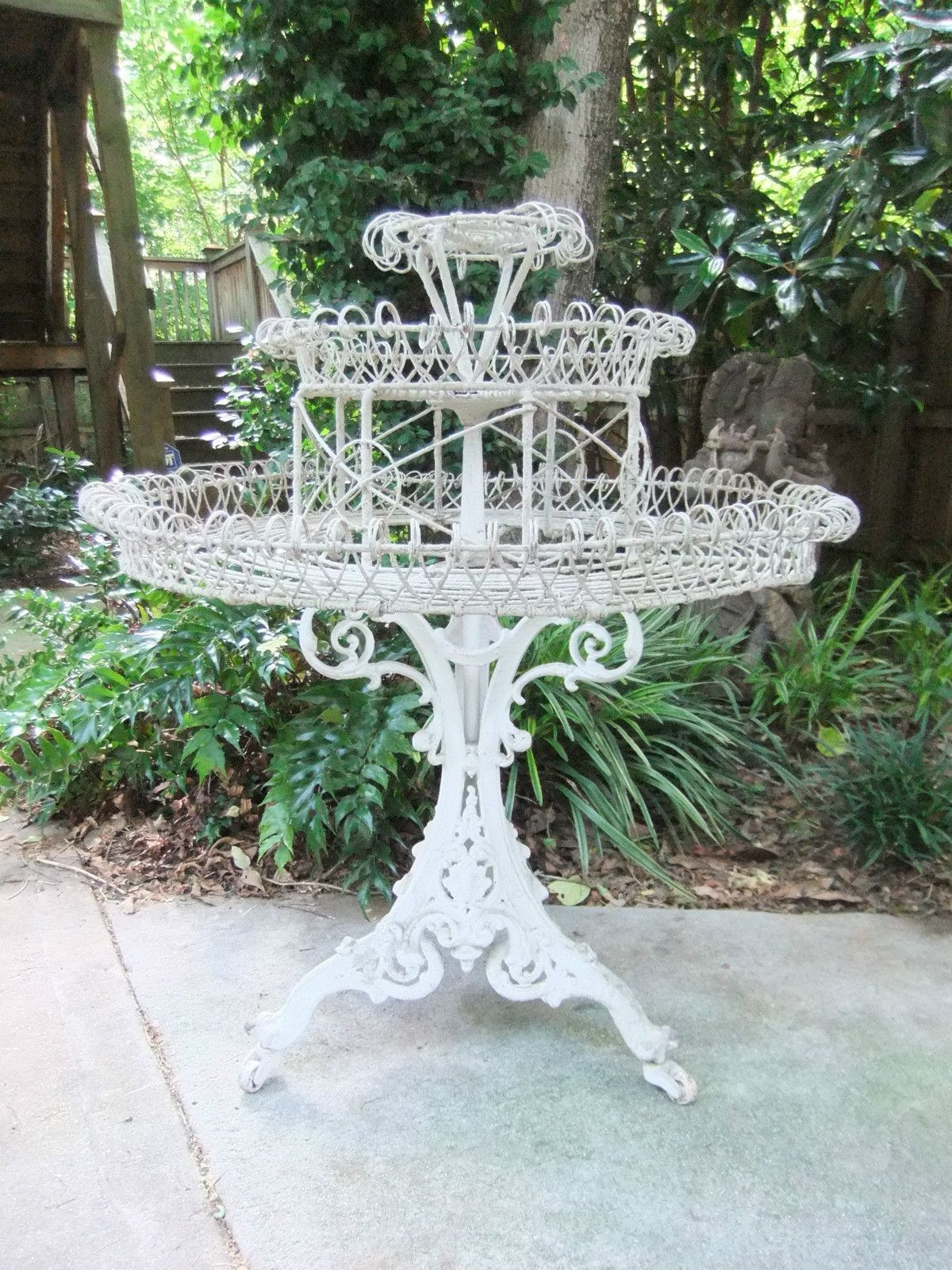 antique victorian white wrought iron plant stand 43 tall 36 diameter antique iron iron. Black Bedroom Furniture Sets. Home Design Ideas