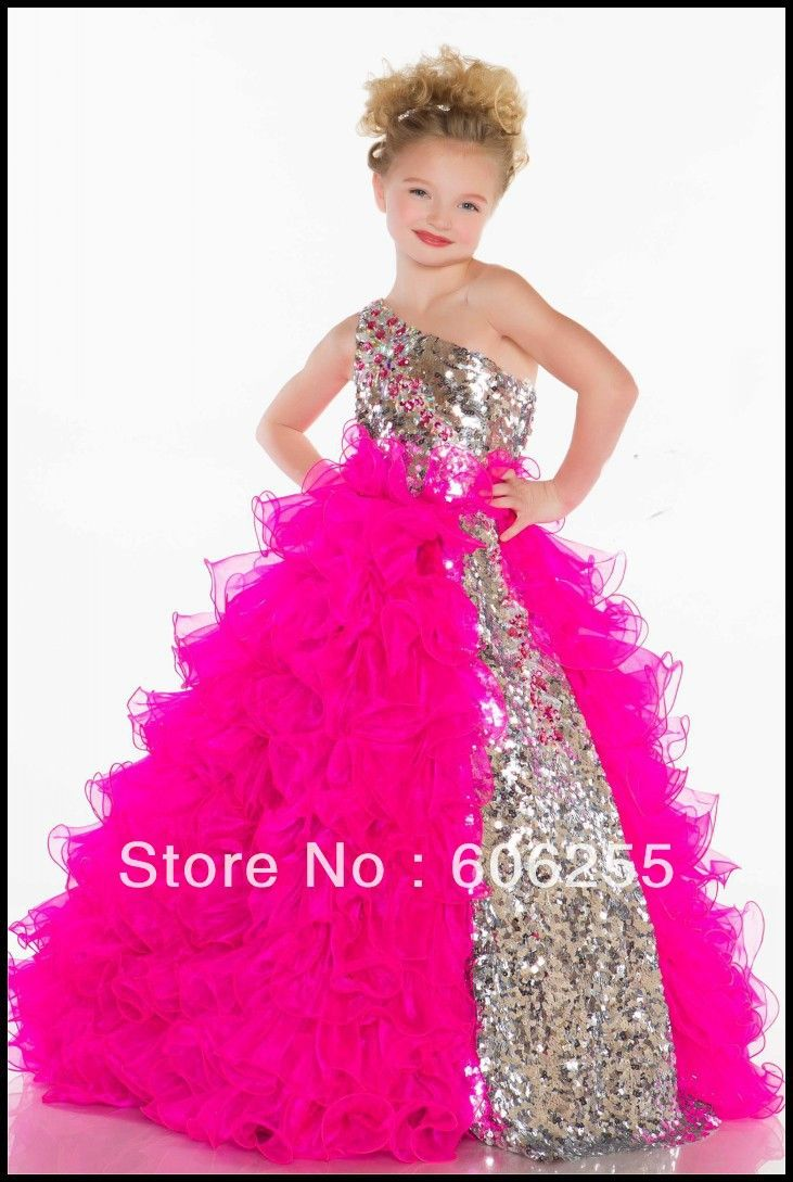 2014 Girl\'s Pageant Dresses Cute Princess One Shoulder Sequins Pleat ...