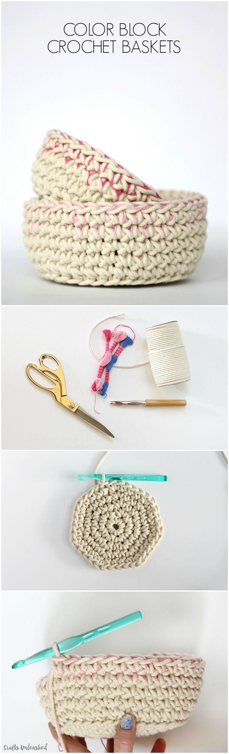 Crochet Basket Pattern with Colorblock Technique | Totoro, Hilo y Tejido