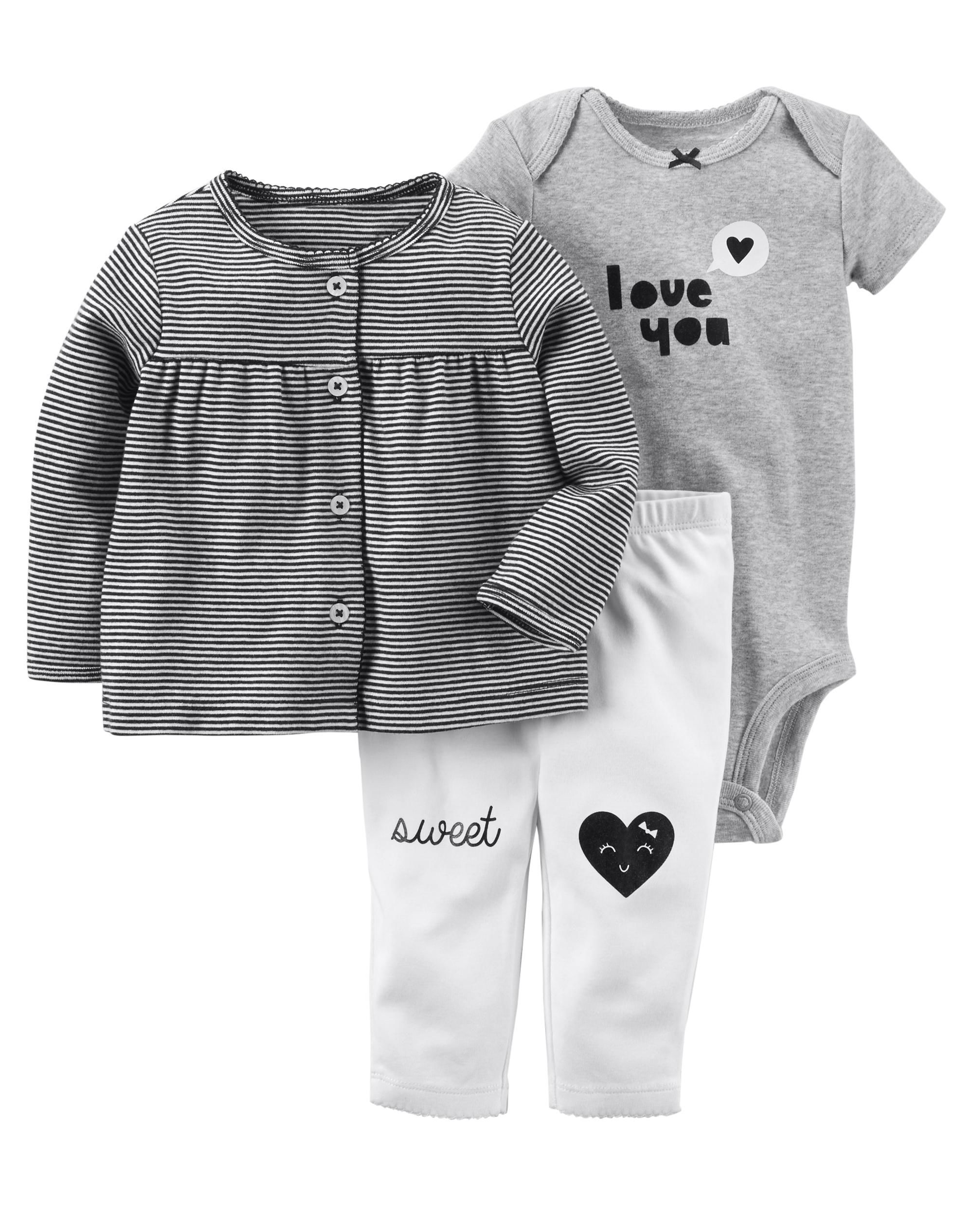 34c8ca3076f776 Featuring a short-sleeve bodysuit and a super cute button-up jacket, this  babysoft cotton set lets her mix and match with essential pants. Easy as 1,  2, 3!