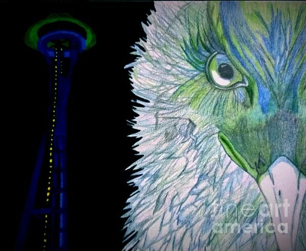 seahawks mixed media color pencil drawing | art for sale ...