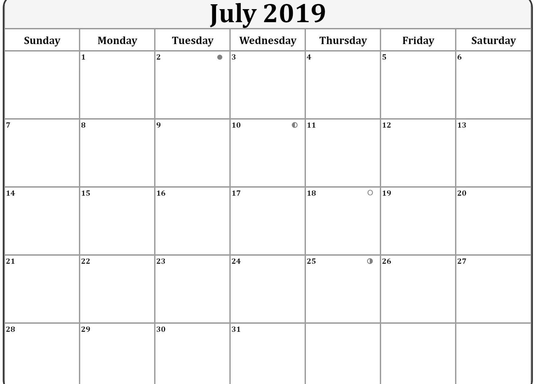 Moon Phases Calendar For July 2019 Moon Phase Calendar Lunar