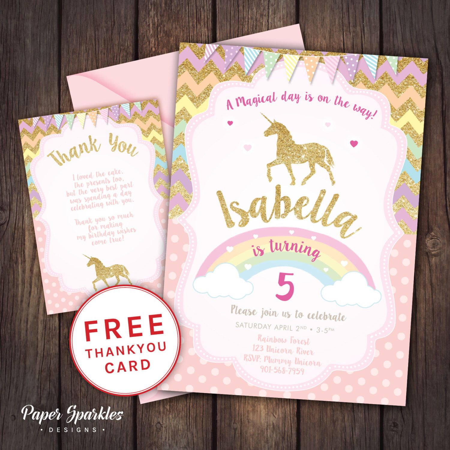 Unicorn Invitation Party First Birthday Glitter