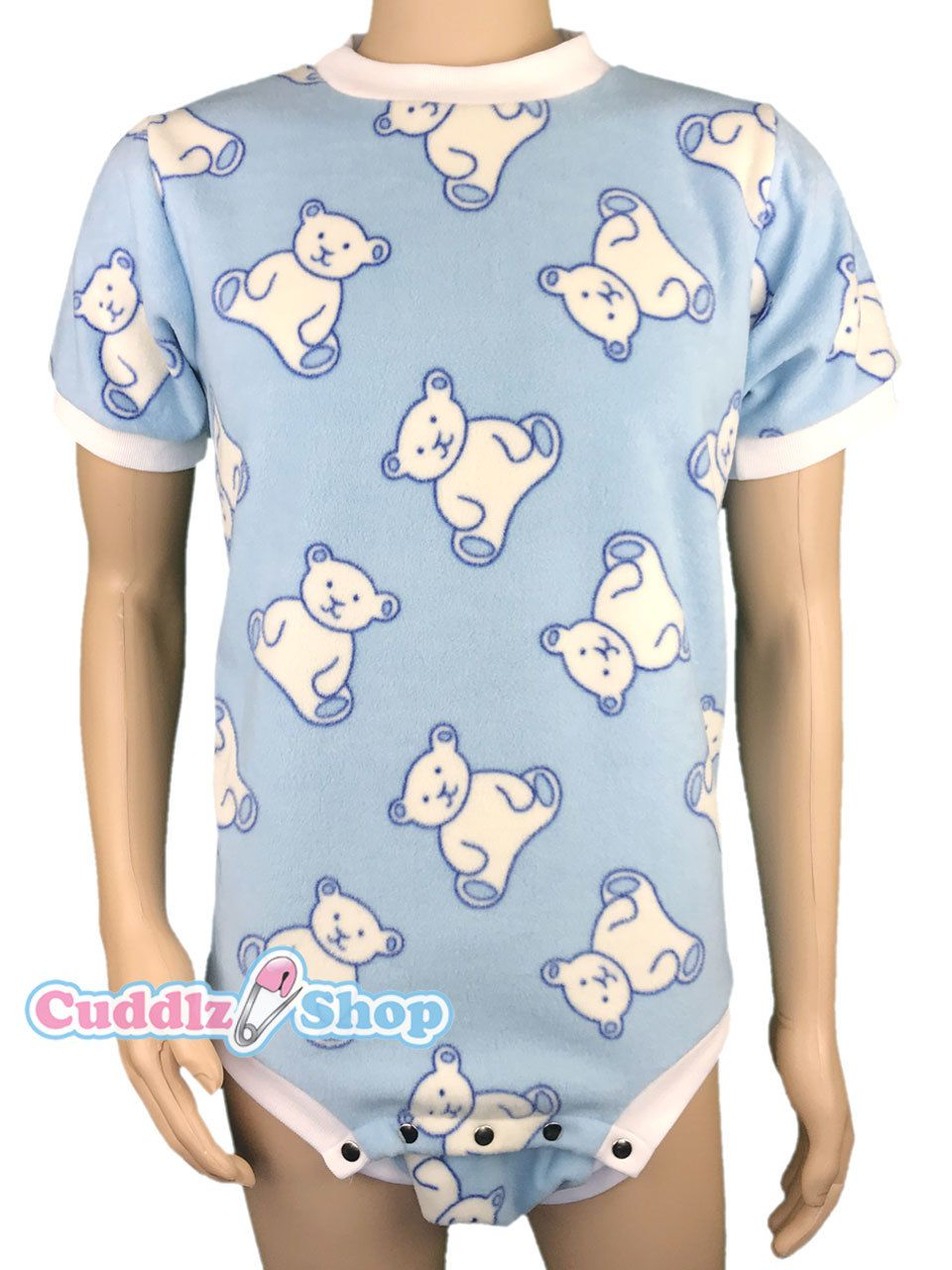 3710e404b Cuddlz Blue Teddy Pattern fleece onesie for adults ABDL clothing ...