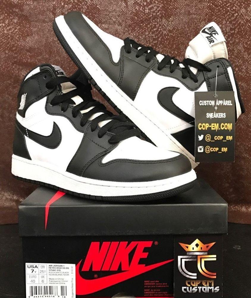 2014 Nike Air Jordan 1 I Retro High OG Black White AJ1 GS SIZE 7Y (555088- 010)  Jordan eae23557b