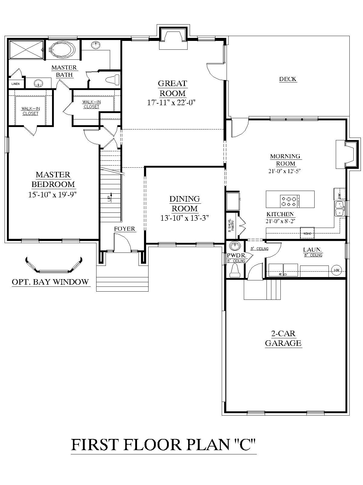 House Plan 2995 C Springdale C First Floor Traditional 2 Story House With 4 Bedrooms Master Bedroom Downstairs House Plans Floor Plans Cottage House Plans