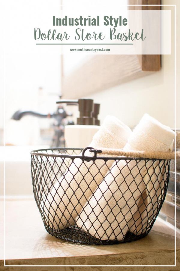 DIY Industrial Style Dollar Store Basket #cheapdiyhomedecor