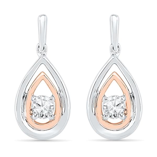 Rose Gold Sterling Silver Diamond Set White Sapphire Halo Screwback Earrings New