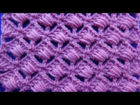 Punto Abanicos Entrecruzados tejido a crochet paso a paso para ...
