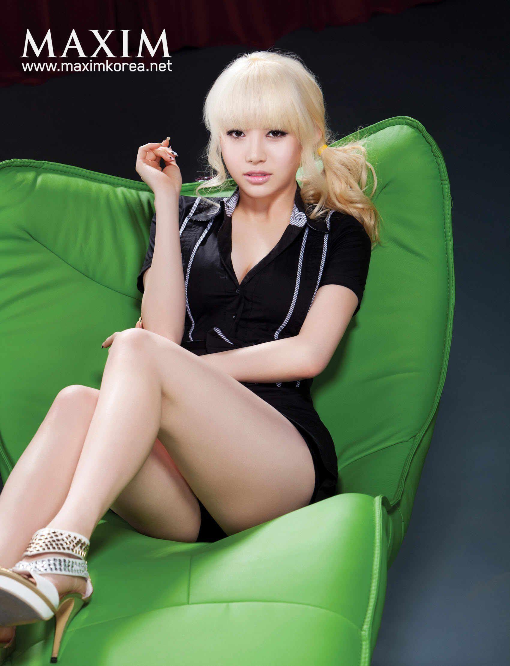 Korean nude model blond hair