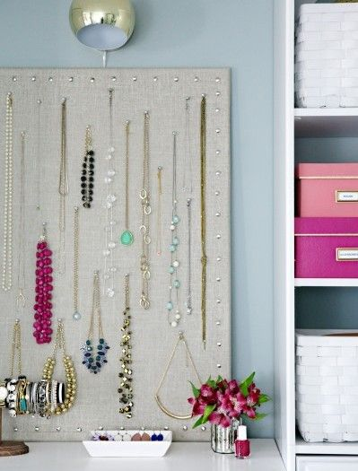 Fabric draped bulletin board with nails to hang necklaces & Fabric draped bulletin board with nails to hang necklaces | Happy ...