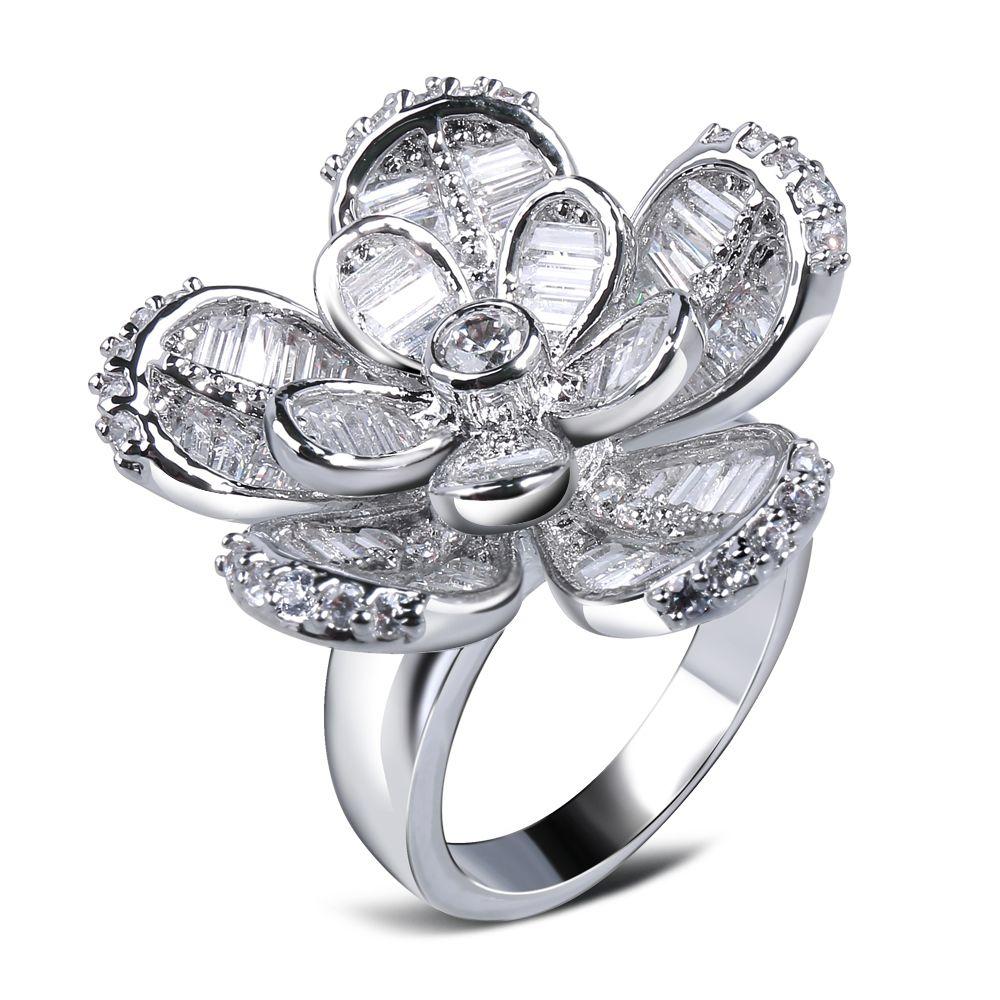 Cubic Zirconia Ring 3D Great Flower Design Baguette Stone