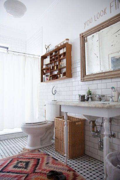 eclectic bathroom, carpet, wood shelf, freestanding sink, framed mirror OeufNyc18