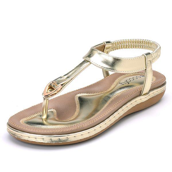 cbabfca50 SOCOFY Comfortable Shoes Elastic Clip Toe Flat Beach Sandals US Size 5-13
