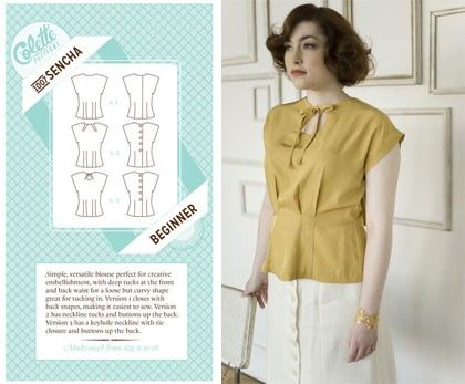 Colette Sewing Pattern, Sencha Blouse Top Size 2 - 20 (UK) | Sewing ...