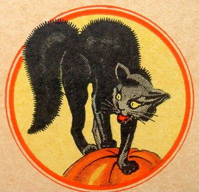 Vintage black cat Halloween