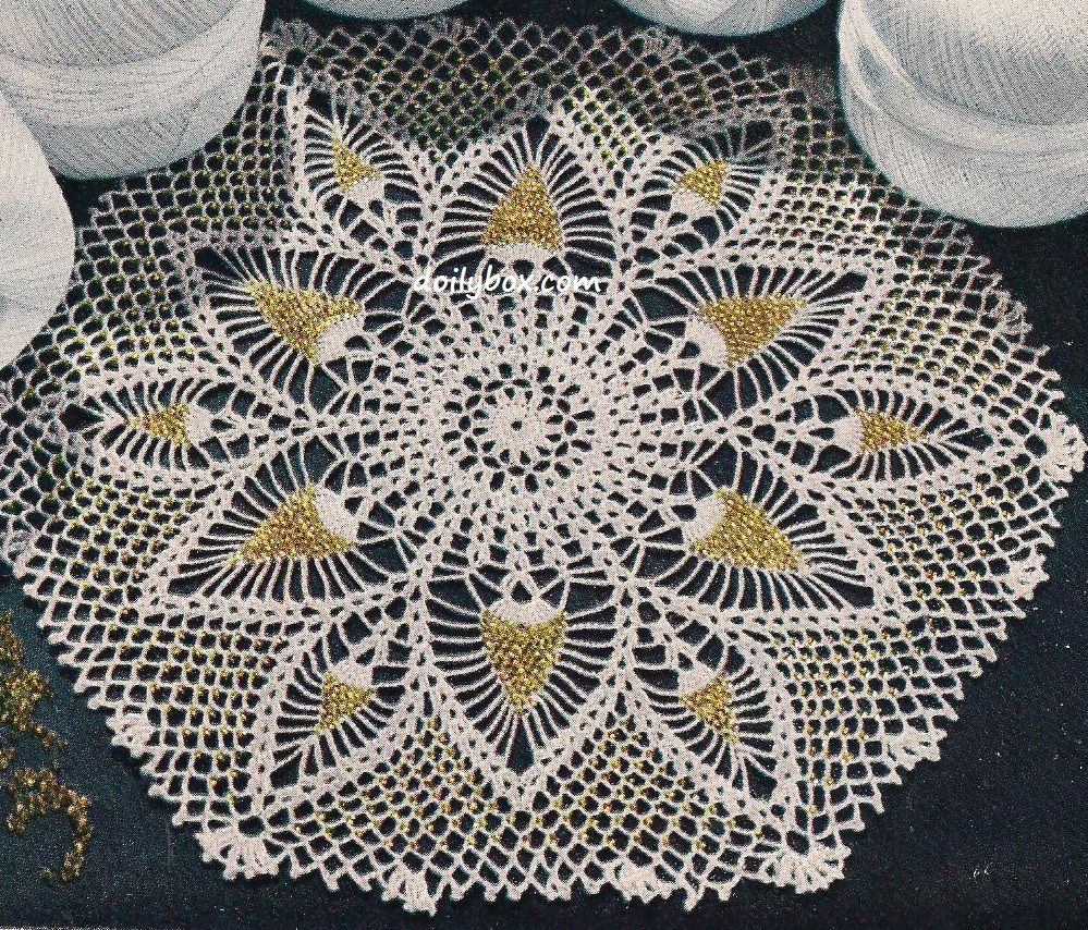 Free Crochet - Pineapples and Beads Doily Pattern | Vintage crochet ...
