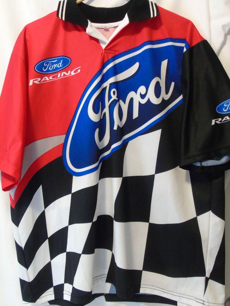 Pit Crew Shirts >> Men's FORD RACING jersey Collar Shirt Size 42 XL Checkered ...