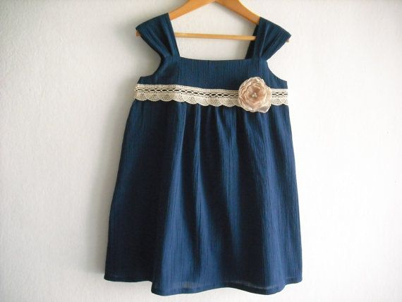 e0bc582da03e Navy Blue Flower Girl Dress  Girl Summer Dress  by ANKOdesign ...