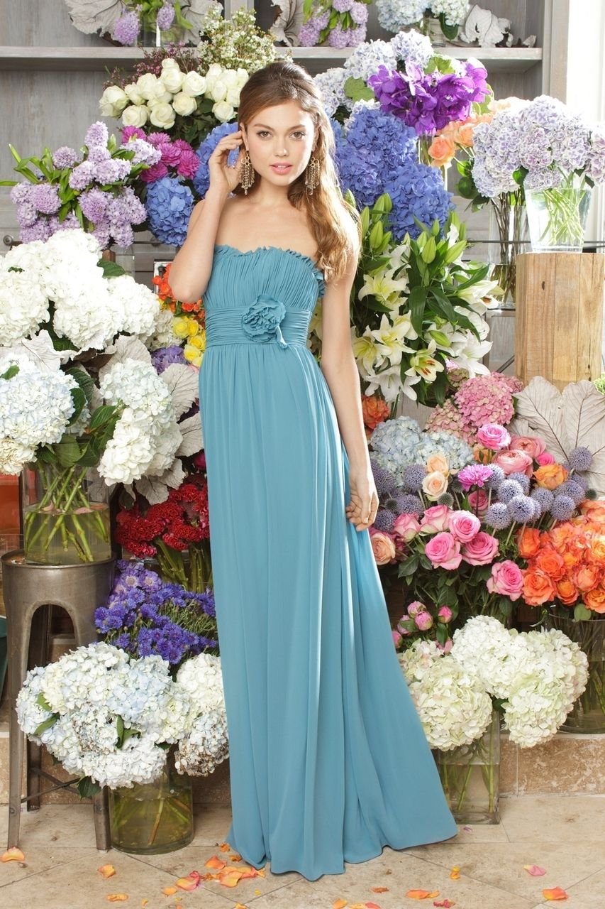 Strapless blue bridesmaid dress Wtoo 910. MODELBRIDE - Dress 910, $270.00 (http://www.modelbride.com/dress-910/) #bluebridesmaiddress #straplessbridesmaiddress