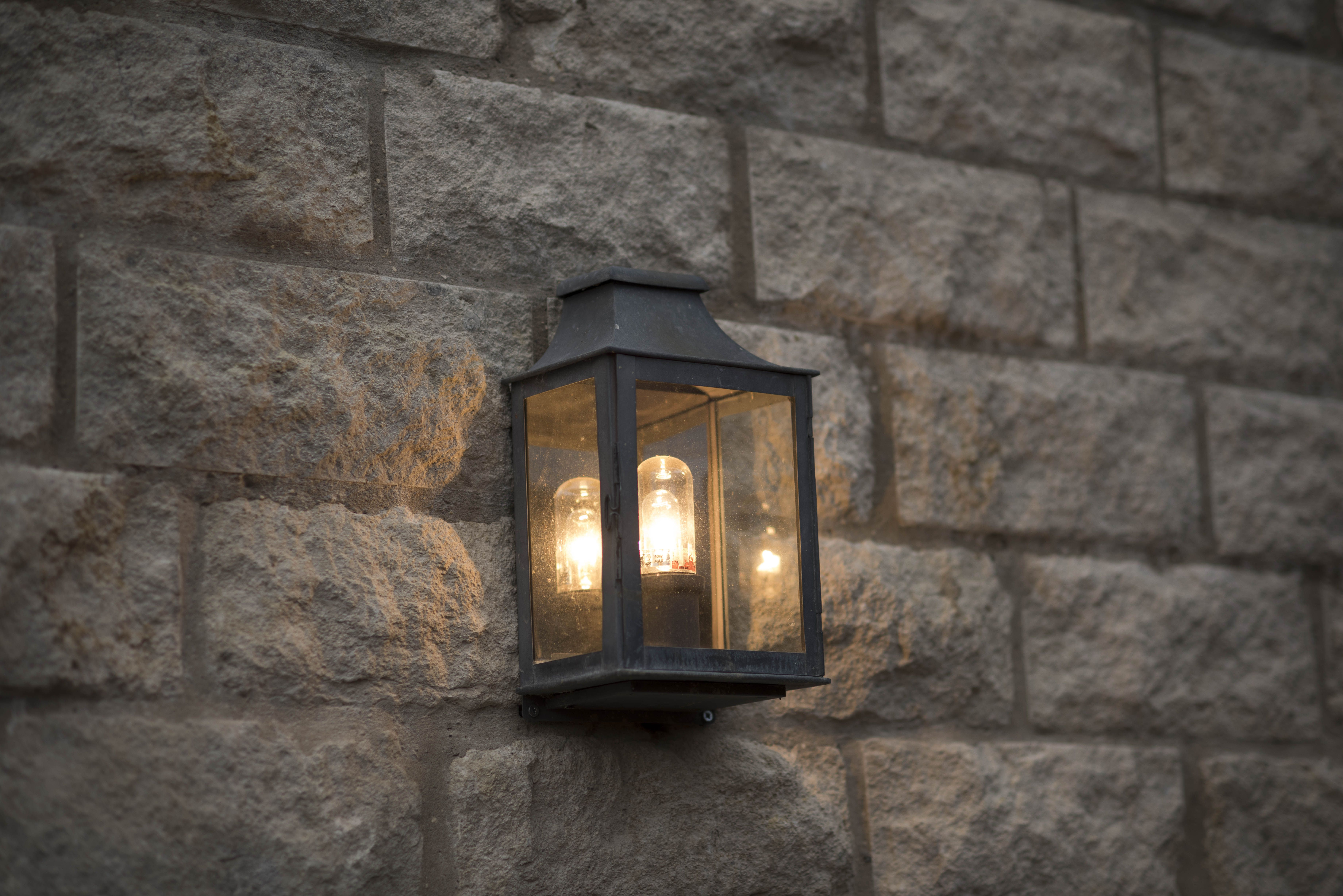 Lighting Exterior Wall Mounted Lantern Light Outside Entrance Door Of Country Cottage