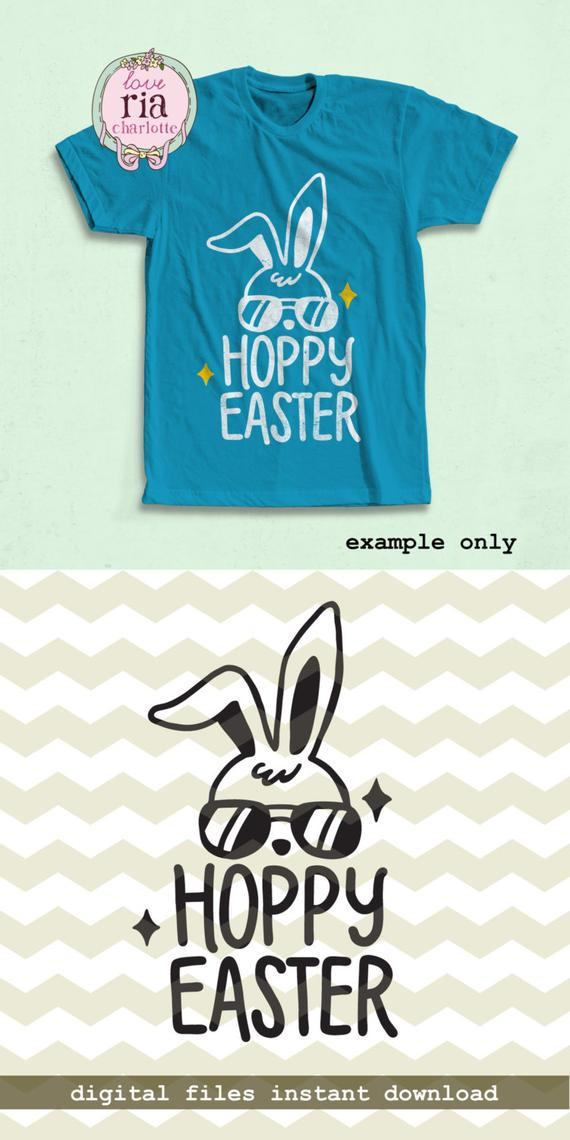 94e336bad Hoppy Easter, cute fun happy Easter bunny rabbit digital cut files, SVG,  DXF, studio3 files instant