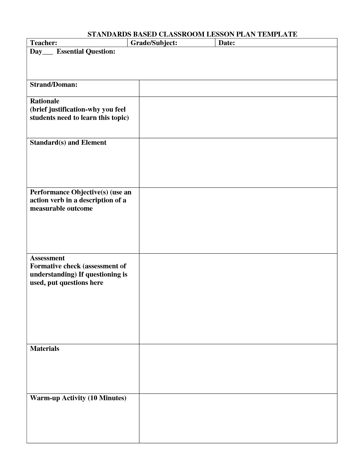 Standard Based Lesson Plans Template  Standards Based Lesson