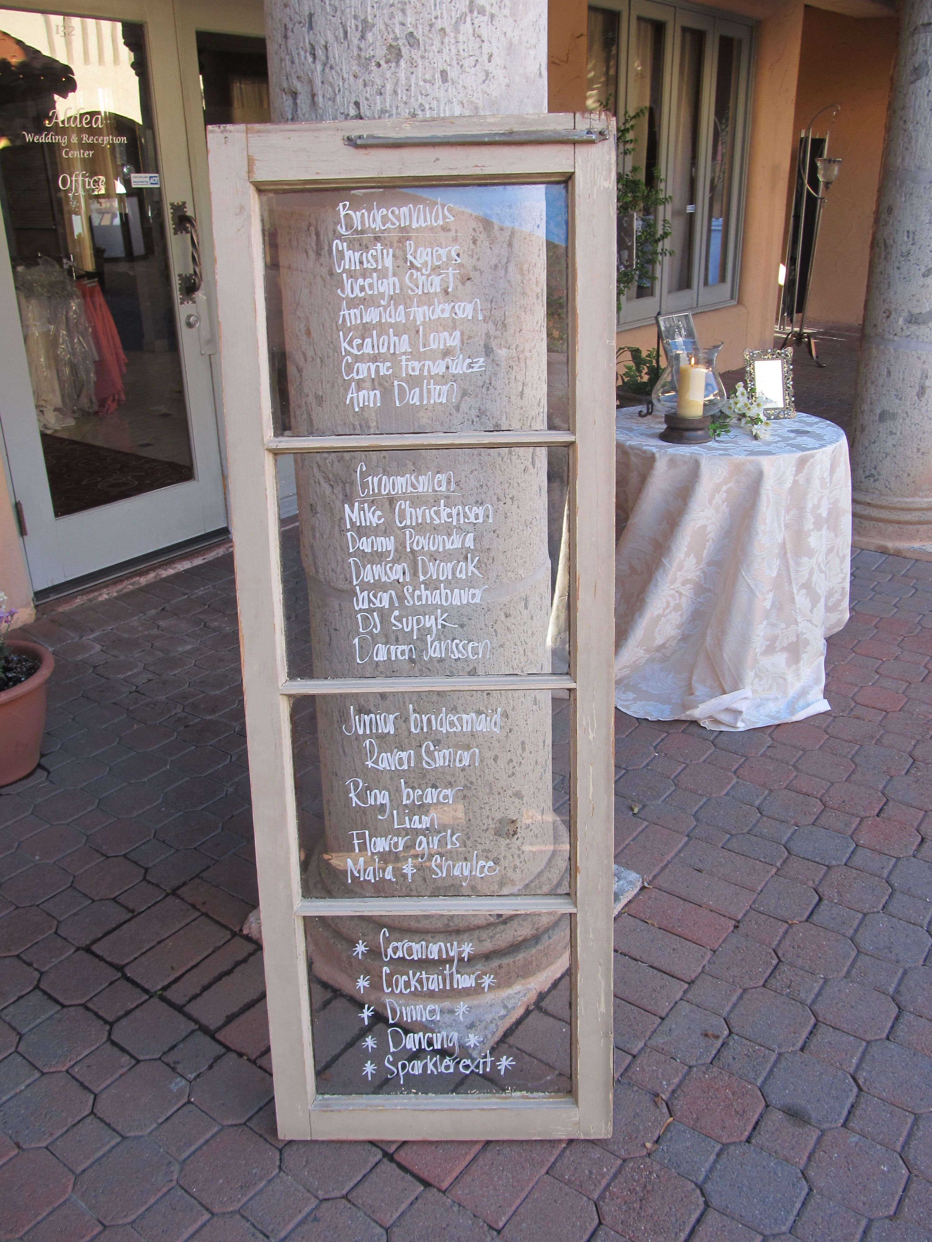 Aldea Window Pane With Wedding Program Entrance Tables Sign In