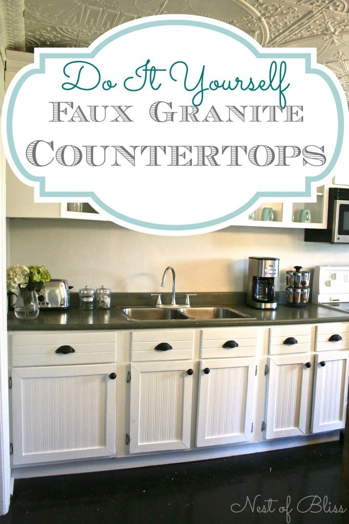 Covering Countertops Faux Granite Makeover Nest Of Bliss Wallpaper Cabinets Beadboard Wallpaper Diy Kitchen Cabinets