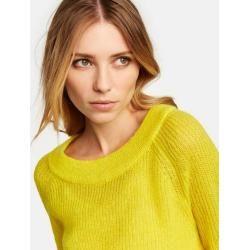 Photo of Knitted sweater with balloon sleeves yellow typhoon typhoon