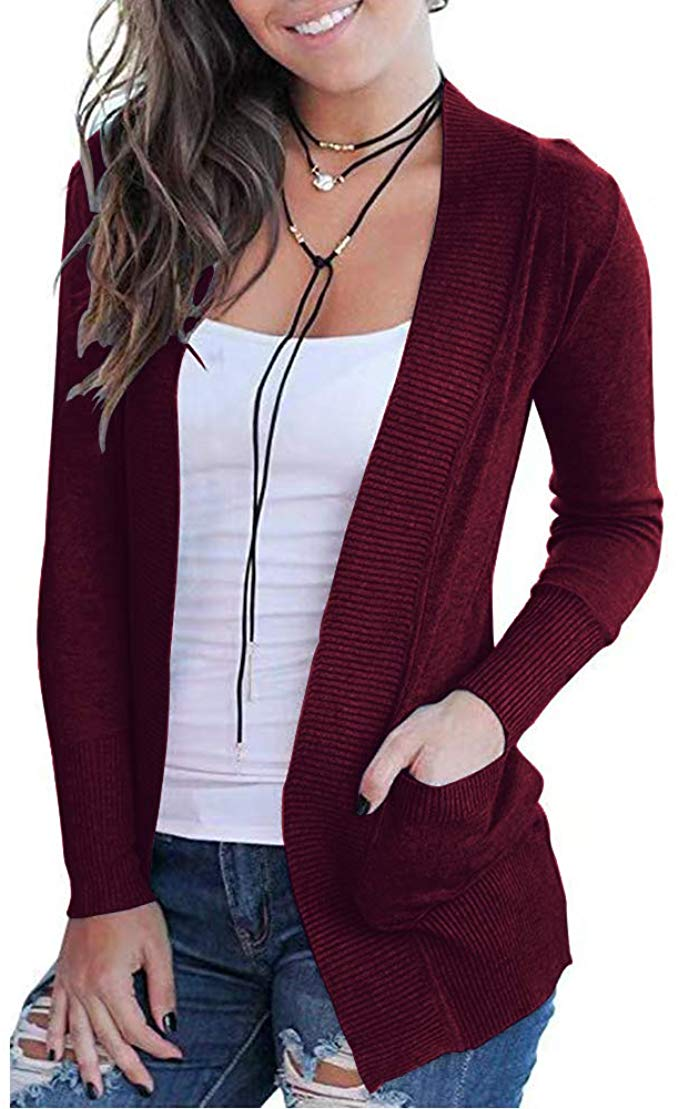 club rubare Dipendenza  VOIANLIMO Womens Open Front Long Sleeve Knit Casual Soft Burgundy Cardigan  Sweater with Pocket… in 2020 | Womens sweater jacket, Cardigans for women,  Sweater jacket outfits