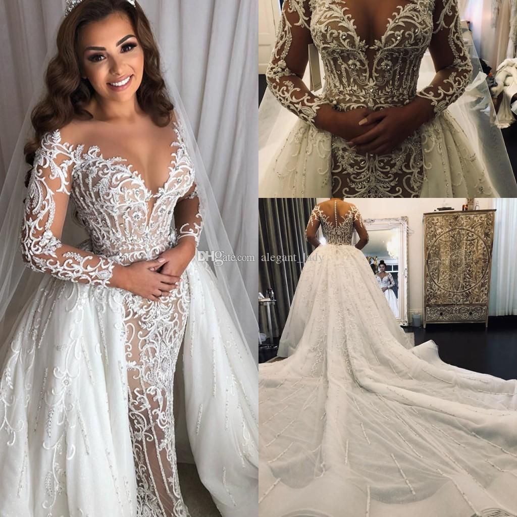 Long Sleeve Middle East Mermaid Wedding Dresses With Overskirt Detachable Train Lace Sparkly Beaded Arabic Princess Wedding Gown From Alegant Lady 281 18 Dh Satin Mermaid Wedding Dress Bridal Gowns Mermaid Online Wedding Dress [ 1024 x 1024 Pixel ]
