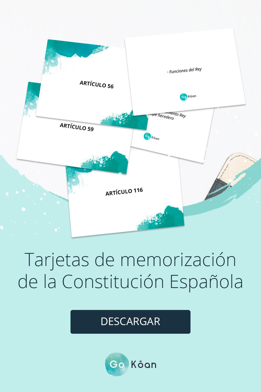 Tarjetas De Memorización De La Constitución Española Oposiciones Educacion Memorización Constitucion
