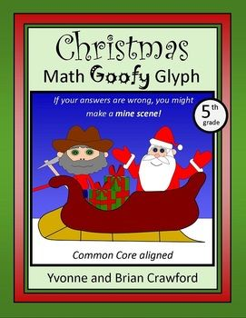Christmas Math Goofy Glyph for 5th grade - $