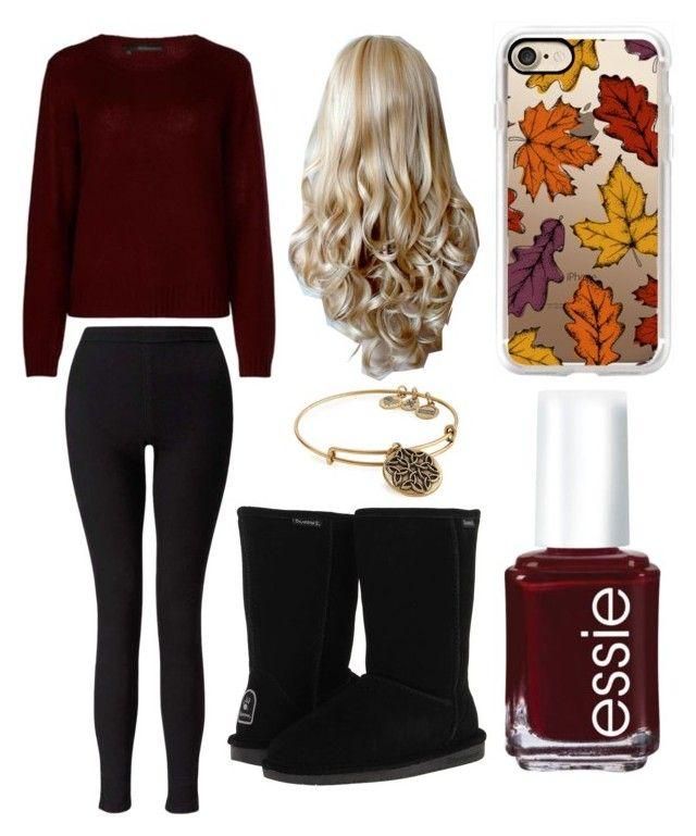 """Burgandy Fall Look"" by lfrye2080 ❤ liked on Polyvore featuring 360cashmere, Miss Selfridge, Casetify, Essie, Bearpaw and Alex and Ani"