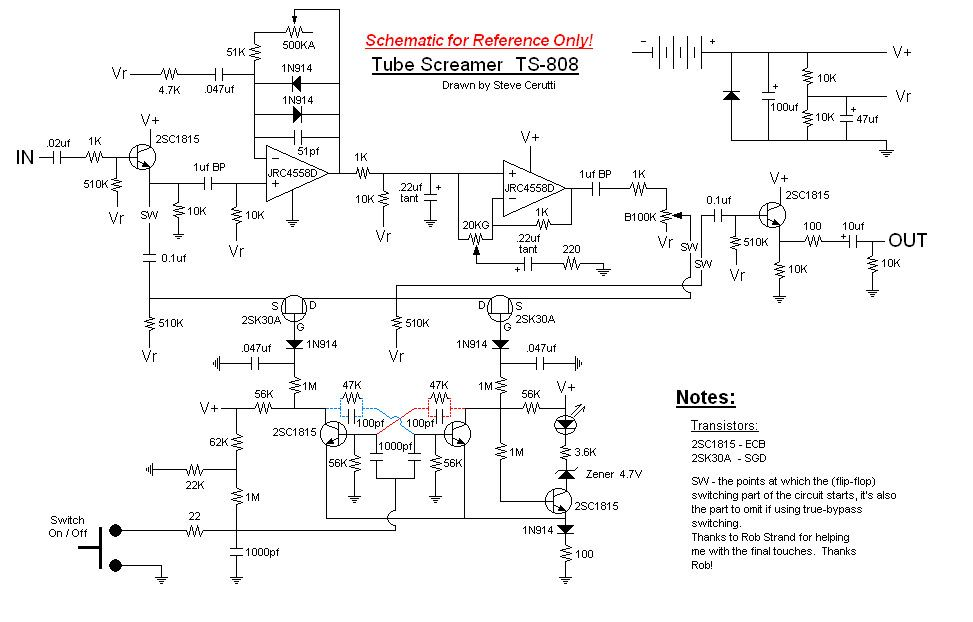 Classic Tube Screamer TS808 Schematic  I want to try to build a clone  I have most of the
