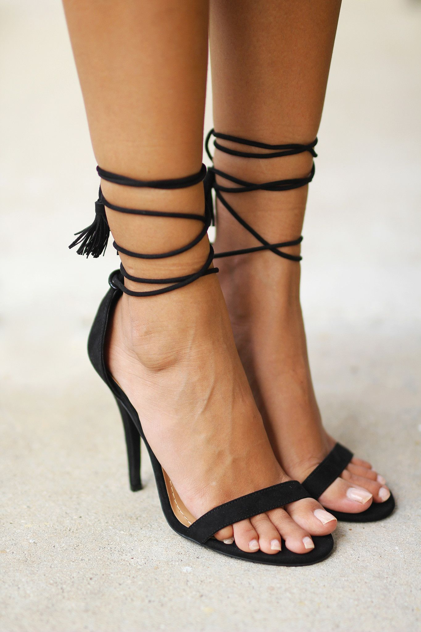 84da733b4f5f Say hello to your new fave shoes! Our new Black Strappy Heels with Tassels  are a must have piece in every girl s closet. They are the perfect basic  heels ...