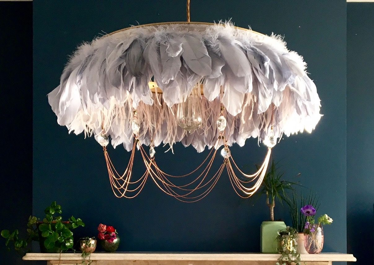 Edith Feather Chandelier Feather Light Handmade Feather Lamp