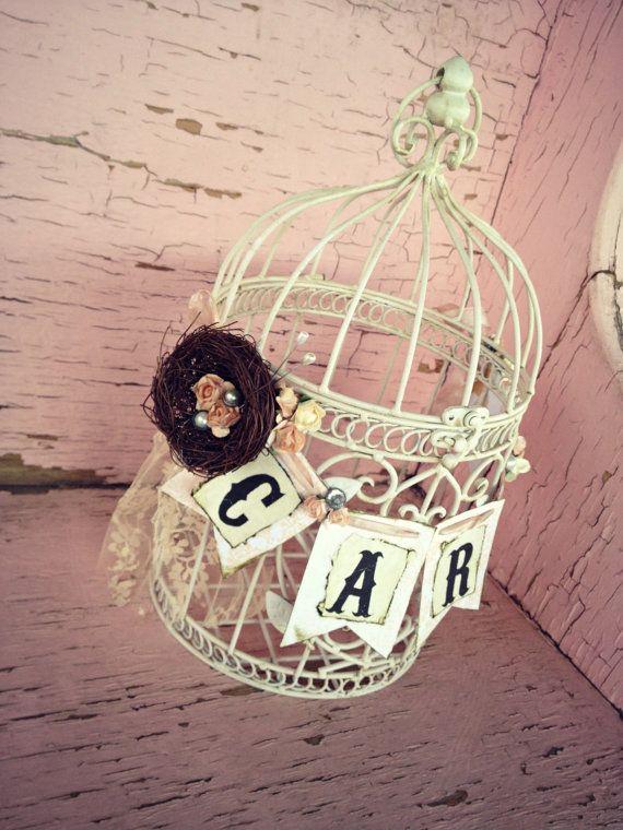 Wedding Birdcage Card Box Card Holder Rustic bird's by ShabbyScrap, $90.00